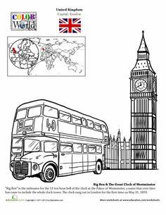 London coloring page -printable! Passport UK  #homeschool