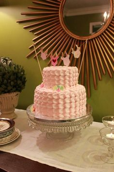 Baby shower cake  @Vicki Smallwood Bennett  - this is cute and simple!