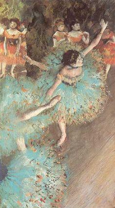 Edgar Degas: Swaying Dancer (Dancer in Green), 1877-79. Pastel and gouache on paper. Museo Thyssen-Bornemisza, Madrid.