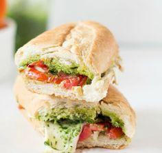Use tomato, mozzarella and pesto to make this sandwich.