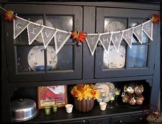 chalk board (Thanksgiving) bunting, use chalkboard cloth instead though.