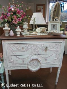 Painted in Chalk Paint® decorative paint by Annie Sloan.   Antoinette and Old White.
