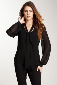 Tie-Neck Button Front Blouse. Business attire. Black on black.