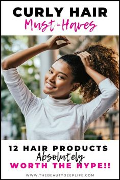 12 Must-have hair products for styling curly and frizzy hair. If you are looking for the best beauty products to reach your hair and beauty goals, these are the absolute best hair products for defining your curls & giving frizz control, while improving hair health. #curlyhair #hairproducts #hairproductsforstylingcurls #curlyfrizzyhair