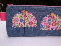 Handmade Denim  Zipper Pencil case - make up bag - appliqued  Floral Umbrellas . £7.50
