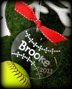 Personalized Christmas Softball Ornament