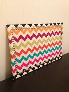 Fabric Covered Chevron Cork Board 11x17