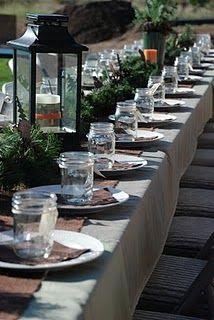 table decorations, camping, babi nolen, famili, vine, shower idea, babi shower, parti, baby showers