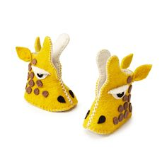 Handmade felted Giraffe baby booties! Made with love in Kyrgyzstan.  #giraffes #baby #babies #babybooties #babyshoes #felt #wool #handmade #fairtrade #Kyrgyzstan uncommon goods, babi slipper, gift, babi booti, babi babi, giraff booti, craft idea, kid, giraffes