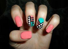 Aztec or geometric nail design! VERY CUTE!
