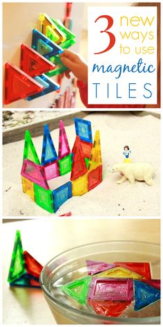 Awesome new ideas for using those magnetic tiles---on the fridge, in the sandbox, and in the bathtub!