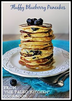 Fluffy Blueberry Pancake Recipe from The Paleo Kitchen Cookbook
