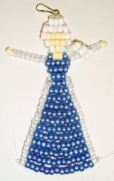 Elsa from Frozen in Her Ice Queen Dress - Pony bead pattern designed by Margo Mead