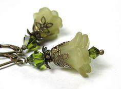 Flower Earrings Swarovski Jewelry Olive Green by jewelrybyNaLa, $22.00 #onfireteam #lacwe #tbec #fest #earrings #accessories #handmade