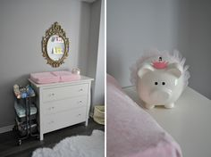 Pretty Pink, Gold, and Grey Nursery