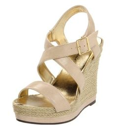 Gold & nude wedges