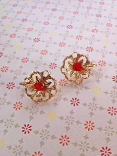 Vintage Gold Tone Metal Flower Earrings with Red by ArtDecoDame, $9.00
