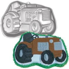 another birthday cake possibility birthday parti, tractor cake, tractors, cakes, wilton tractor, tractor pan, john deer, 2nd birthday, cake pans