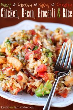 An easy weeknight skillet dinner with chicken, bacon, broccoli and rice with spicy Ro-Tel tomatoes covered in a creamy cheese sauce. Hearty and delicious!