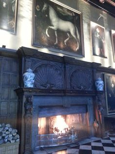 The fireplace in the the Marble Hall of Hatfield House, Elizabeth I's childhood home.