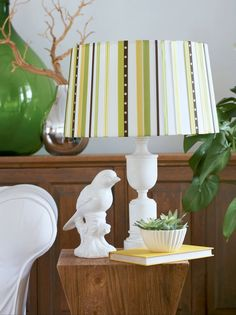 ribbon covered lampshade