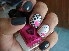 polka dots polka dots, heart, nailart, ring finger, nail designs, nail arts, grey, pink, polka dot nails