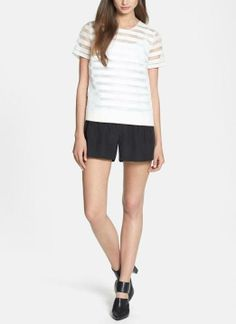 Adore this tee and shorts combo for summer. The organza top is perfect for a touch of fun.