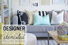 Designer inspired stenciled pillows.  Free Silhouette cut file too!