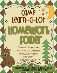 Make your own homework folder - Camp Learn-a-Lot (camping theme)