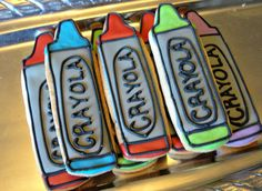 Crayon Cookies Decorated Cookies Birthday Cookie Favors Back To School Cookies. $16.00, via Etsy.