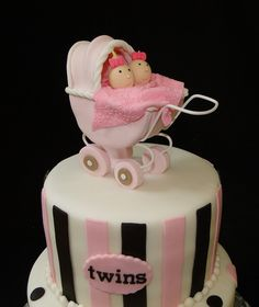 twin girls, cake idea, shower cake, girl baby showers, girl cakes, shower de, twins, babi shower, girl babi