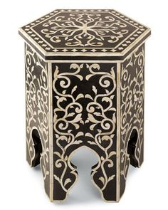 Gump's Bone Inlaid Hexagonal Table