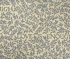 Love Is Enough Fabric A pretty flowing leaf and branch pattern with repeated typography in china blue on vellum.