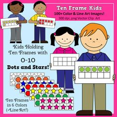Ten Frame Kids Math Clip Art, commercial use, perfect for math resources, graphics, $