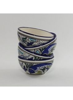Le Souk Ceramique Aqua Fish Soup / Cereal Bowls (set of 4)