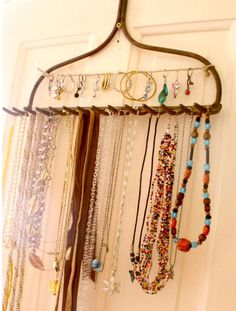 Use an old rake as a jewelry hanger!