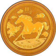 2014 Year of the Horse Lunar Coin. Available in 1/20 oz, 1/10 oz, 1/4 oz, 1/2 oz, 1 oz, 2 oz, 10 oz and 1 kilo versions.