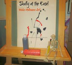 Skully at the easel- He prompts you to create Halloween art and fill your home with the Halloween spirit!