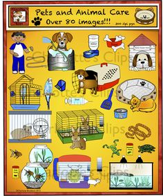 Pets and Animal Needs over 80 clip art images including cat, dogs, bird, fish, turtle, snake, frog, mouse, hamster and rabbit.  Also includes a variety of habitats, food, water, and pet care needs.  Charlotte's Clips