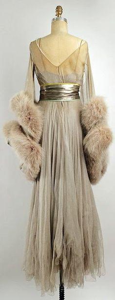 Lucile Dance Dress - back - 1914 - by Lucile Ltd., Lady Duff Gordon (British, 1863-1935) - Silk, fur, metallic  thread - The Metropolitan Museum of Art - @~ Mlle