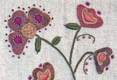 Jacobean Flower Wool Applique, Hand Embroidery / Pattern / Jac 008