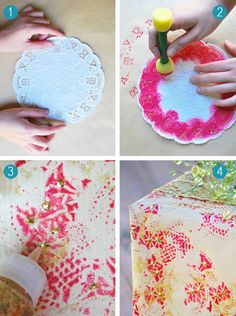 DIY doily stenciled wrapping paper #christmas