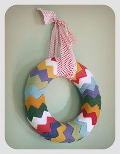 holiday wreaths, felt wreath, chevron wreath