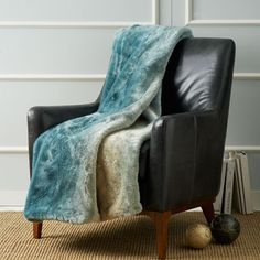 Turquoise Dip Dyed Faux Fur Throw is warm, soft and animal friendly.