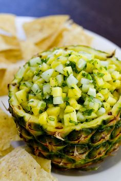 Pineapple Salsa ~ made from fresh pineapple, cucumber, cilantro, jalapeno, garlic, lime juice and fresh salt and pepper.