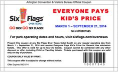six flags pay like a kid days
