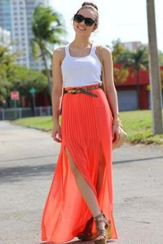 tangerine pleated maxi skirt with side slit