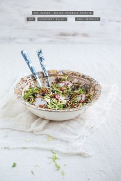 red quinoa shaved brussels sprOuts and blueberry salad