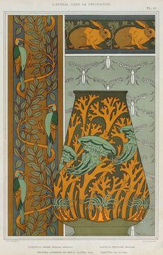 M.P. Verneuil (French, 1869-1942). L'animal dans la décoration. Piverts et arbre, bordure verticale. Lapins et feuilles, bordure. Méduses, anémones de mer et algues, vase. Insectes, jeu de fond. 1897.