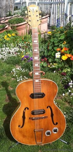 I usually hate when people drag guitars out to the yard to take shots, but... 1940's EPIPHONE Zephyr big archtop